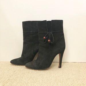Vintage Black Suede Casadei Ankle Boots 6 1/2